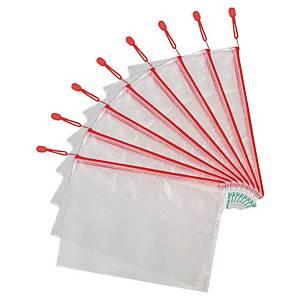 Tarifold transparante tas met zipsluiting, A4, PVC, rood, per 8 ziptassen