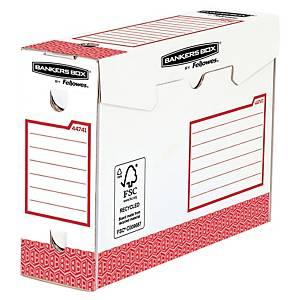 Arkivæske Bankers Box, manuel, intensiv brug, 10 cm, rød, pakke a 20 stk.