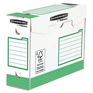 Arkivæske Bankers Box, manuel, intensiv brug, 10 cm, grøn, pakke a 20 stk.