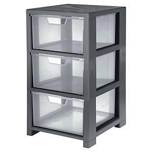 Úložná skrinka, 3 zásuvky, plast, čierna, priehľadná