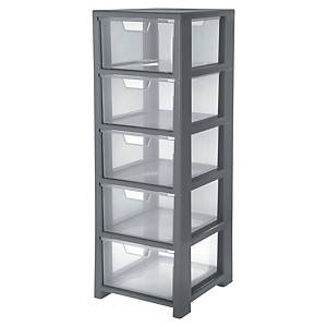 Storage tower with 5 drawers