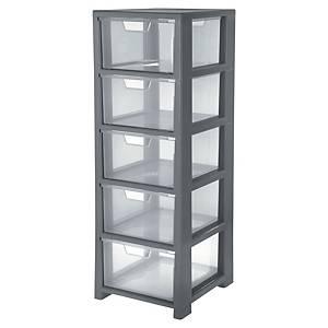Úložná skrinka, 5 zásuviek, plast, čierna, priehľadná