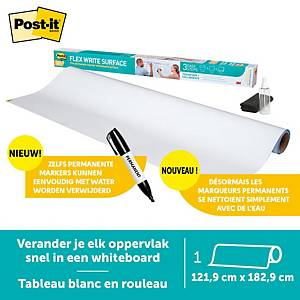 Post-it® Flex Write Surface, tableau blanc marqueurs permanents, 1,219x1,829 m