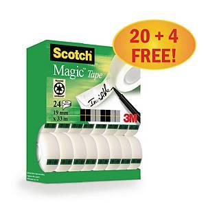 Scotch Magic unsichtbare Klebefilme, 19 mm x 33 m, Packung mit 24 Stück