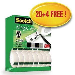 Tape Scotch Magic 810, 19 mm x 33 m, pakke a 20 ruller + 4 gratis