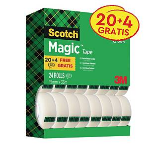 Ruban adhésif Scotch® Magic™ 810 invisible, 19mmx33m, pack avantage 20+4GRATUITS