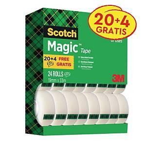 Ruban adhésif invisible Scotch® Magic™ 810, 20 rouleaux + 4 gratuits