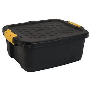 Oppbevaringsboks Strata, heavyduty med lokk, 24 L, sort