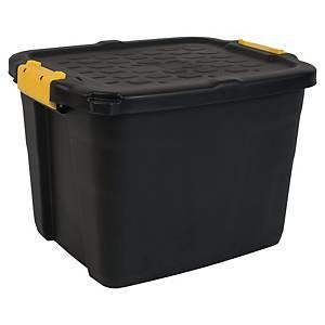 Oppbevaringsboks Strata, heavyduty med lokk, 42 L, sort