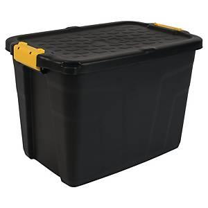 Oppbevaringsboks Strata, heavyduty med lokk, 60 L, sort