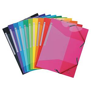 Iderama 3-flap folders in PP assorted colours - pack of 10