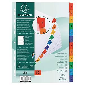 Intercalaires numériques Exacompta, A4, carton et mylar, 11 trous, 1-12 onglets