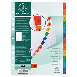 Exacompta White Card Printed A4 Indices, Mylar Tabs 12 Part (1-12) Coloured Tabs