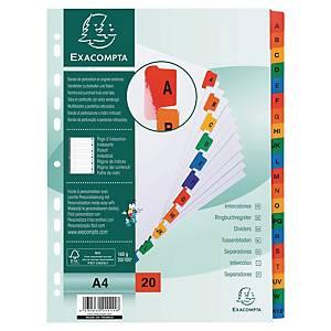 Intercalaire alphabétique Exacompta A4 - carte blanche - 20 touches