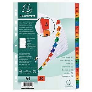 Exacompta White Card Printed A4 Indices, Mylar Tabs 20 Part (A-Z) Coloured Tabs