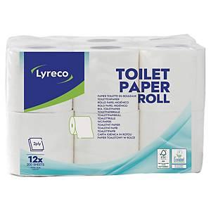 Toiletpapirrulle Lyreco, 2-lag, 200 ark, pakke a 12 stk.