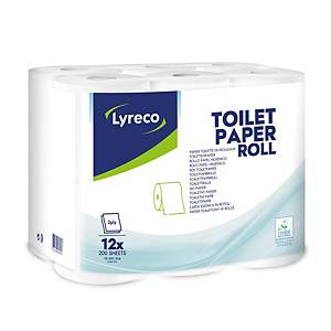 Toilettenpapier Lyreco, 2-lagig, 200 Blatt, weiß, 12 Rollen