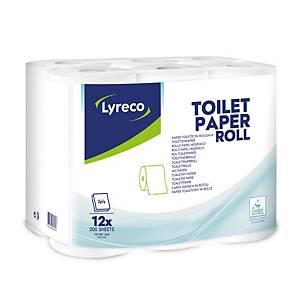 Papier toilette Lyreco, 2 épaisseurs, 200 feuilles par rouleau, 12 rouleaux