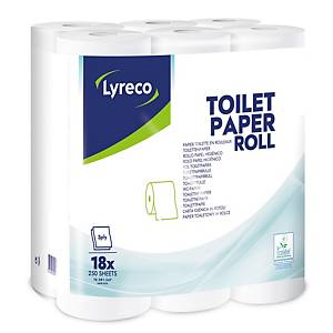 Papier toilette Lyreco, 3 épaisseurs, 250 feuilles par rouleau, 18 rouleaux