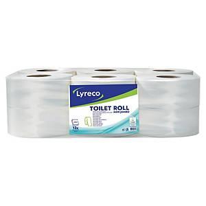 Lyreco Mini Jumbo toalettpapír, fehér, 2 rétegű, 12 darab