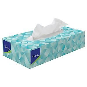 Lyreco papírzsebkendő dobozban, fehér, 100 darab/csomag, 2 rétegű