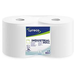 Lyreco industriële poetsdoek, 2-laags, wit, 1.000 vellen, per 2 rollen