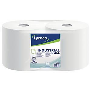 Papier d essuyage industriel Lyreco - 2 plis - blanc - 2 bobines