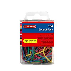 PK100X5 HERLITZ RUBBER BANDS ASS COL/SI