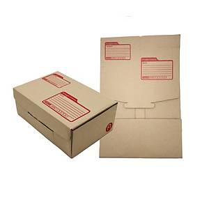 กล่องพัสดุแบบไดคัท กระดาษคราฟท์ KI ขนาด 14 x 20 x 6ซม แพ็ค 10 กล่อง สีน้ำตาล
