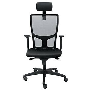 Wallstreet bureaustoel met armleuningen, stof/mesh, zwart