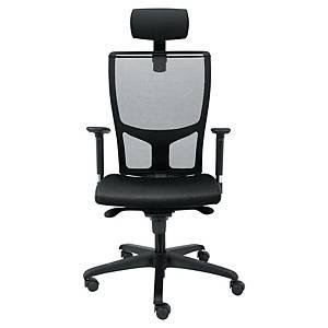 Chaise de bureau Wallstreet avec appuie-tête, noir