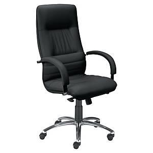 Optimum bureaustoel met armleuningen, leder, zwart