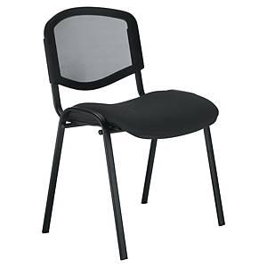 Chaise visiteur Welcome - empilable - résille et tissu - noire