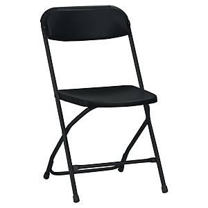 Chaise visiteur Medina - pliante - tissu - noire