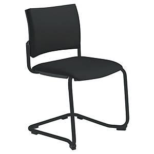 Chaise visiteur Savannah pied luge - empilable - tissu - noire