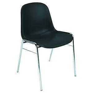 Chaise de réception Charlie, plastique, noire