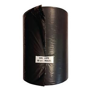 Worki na śmieci LDPE czarne 120 l, 22 mikronów, 50 sztuk