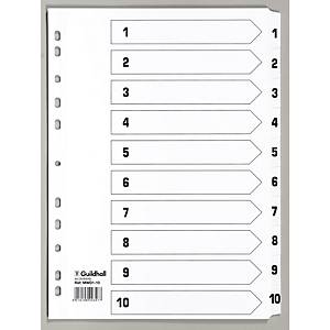 Exacompta Mylar Printed Indices, A4, 10 Part (1-10) - White