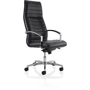 Eol Manhattan bureaustoel met armleuningen, leder, zwart