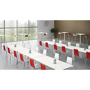 Siège de cafétéria Eol Spoon, bois, rouge/blanc, les 2 sièges