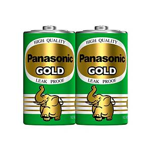 PANASONIC GOLD R20GT/2SL CARBON ZINC BATTERIES D PACK OF 2