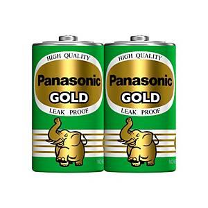PANASONIC Gold R20Gt/2Sl Carbon Zinc Batteries D Pack Of 2