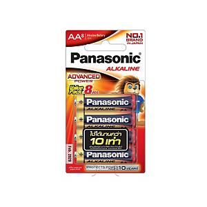 PANASONIC ถ่านอัลคาไลน์ LR6T/8B AA 1 แพ็ค บรรจุ 8 ก้อน