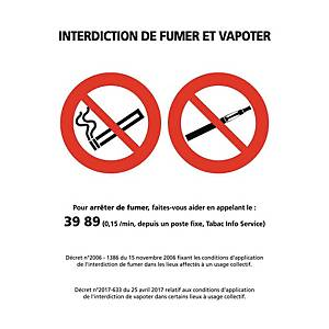 Panneau adhésif PVC - Interdiction de fumer et vapoter - A3