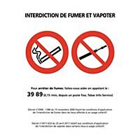 Panneau autocollant - Interdiction de fumer et vapoter - A3