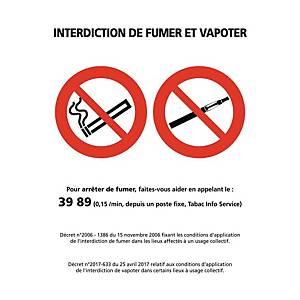 Panneau autocollant - Interdiction de fumer et vapoter - A5