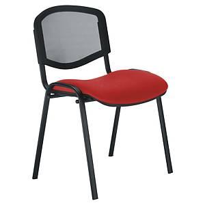 Chaise visiteur Welcome - empilable - résille et tissu - rouge