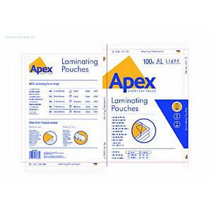 Fellowes 6001901 Apex Laminating Pouches 75-80 Micron A3 Gloss - Pack Of 100