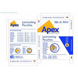 Fellowes Apex Laminating Pouch Medium A4 - Box of 100