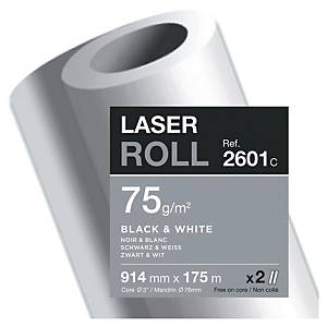 Plotter paper Clairefontaine Laser 2601C, 914mm x 175m, 75g/m2, pack of 2